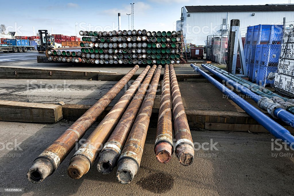 Drilling pipes for oil stock photo