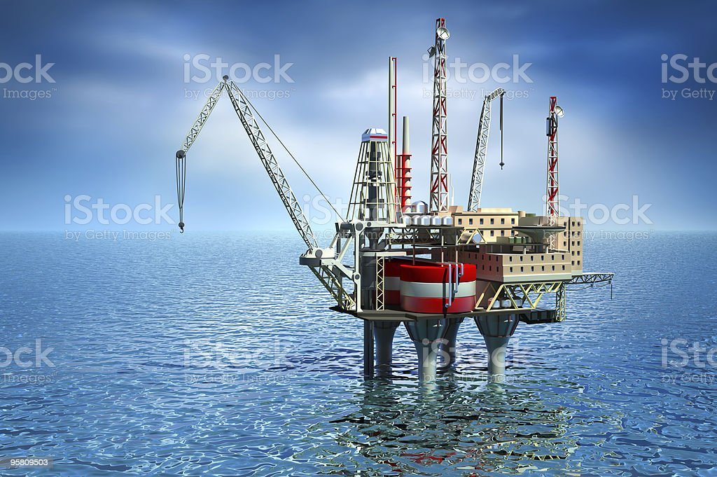 Drilling platform : Offshore oil rig structure. stock photo
