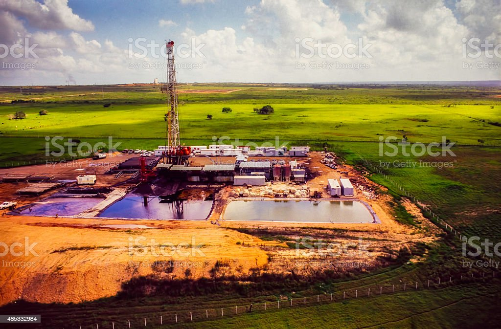 Drilling Rig- Aerial View 2 stock photo