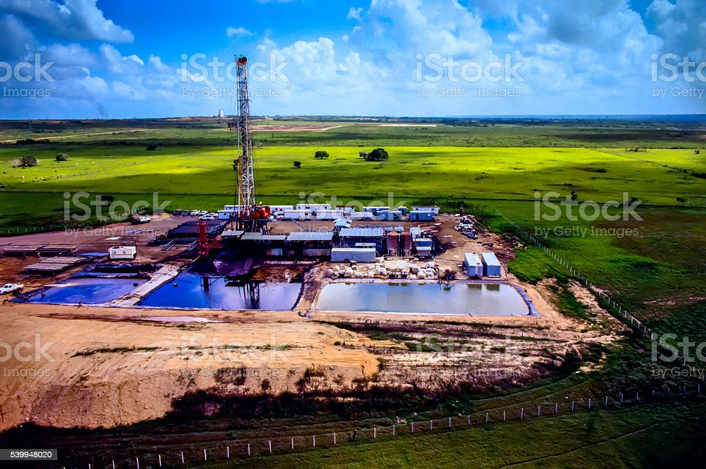 Drilling Rig- Aerial View stock photo
