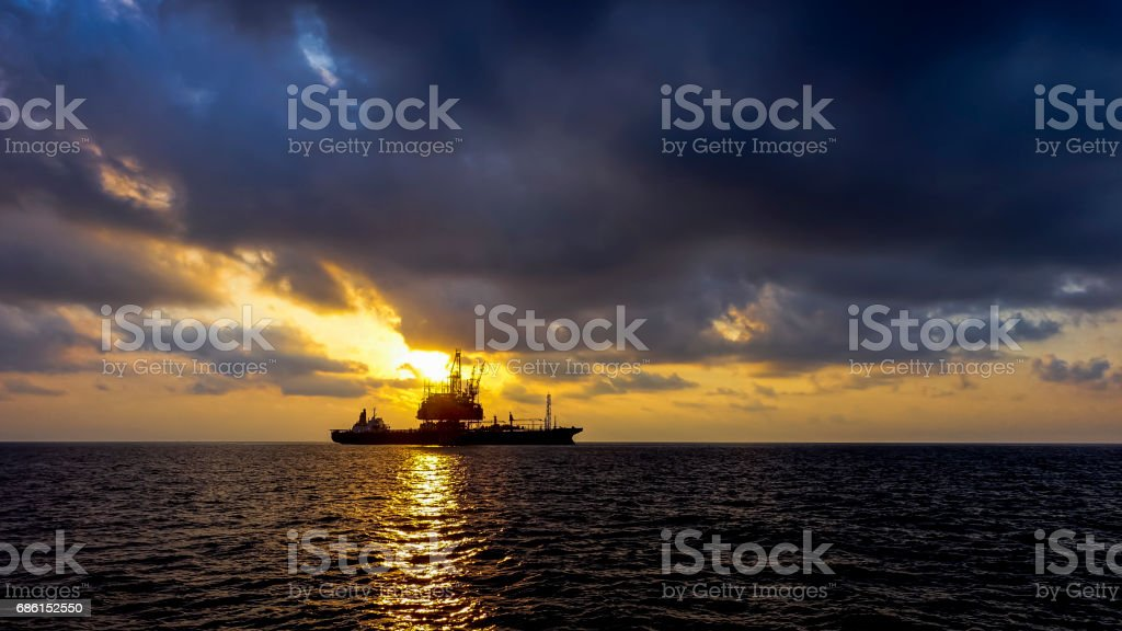 Drilling rig and oil platform. stock photo