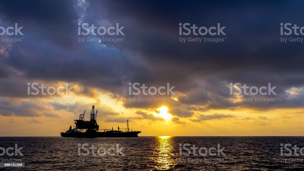 Drilling rig and production platform stock photo