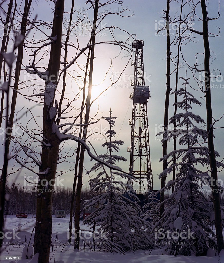 Drilling Rig in Northern Sun royalty-free stock photo