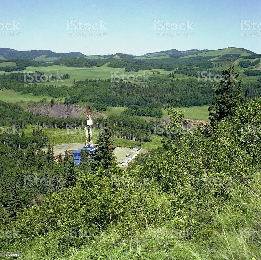 Drilling Rig in the Foothills royalty-free stock photo