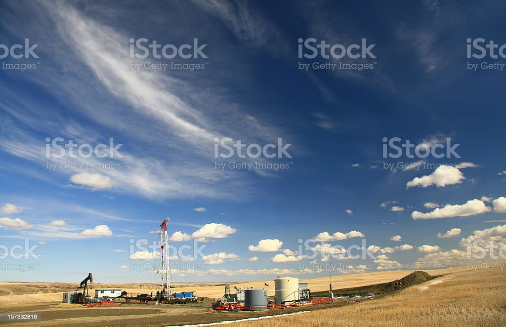 Drilling Rig on the Prairie stock photo