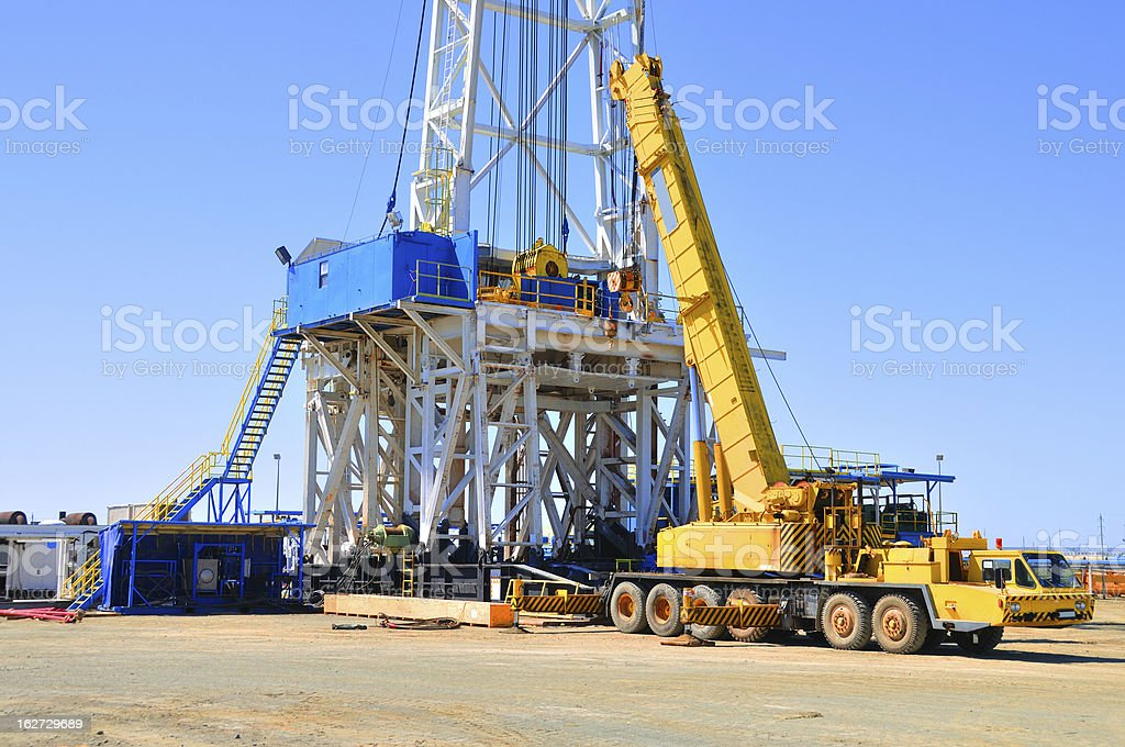 Drilling rig - rigging up stock photo