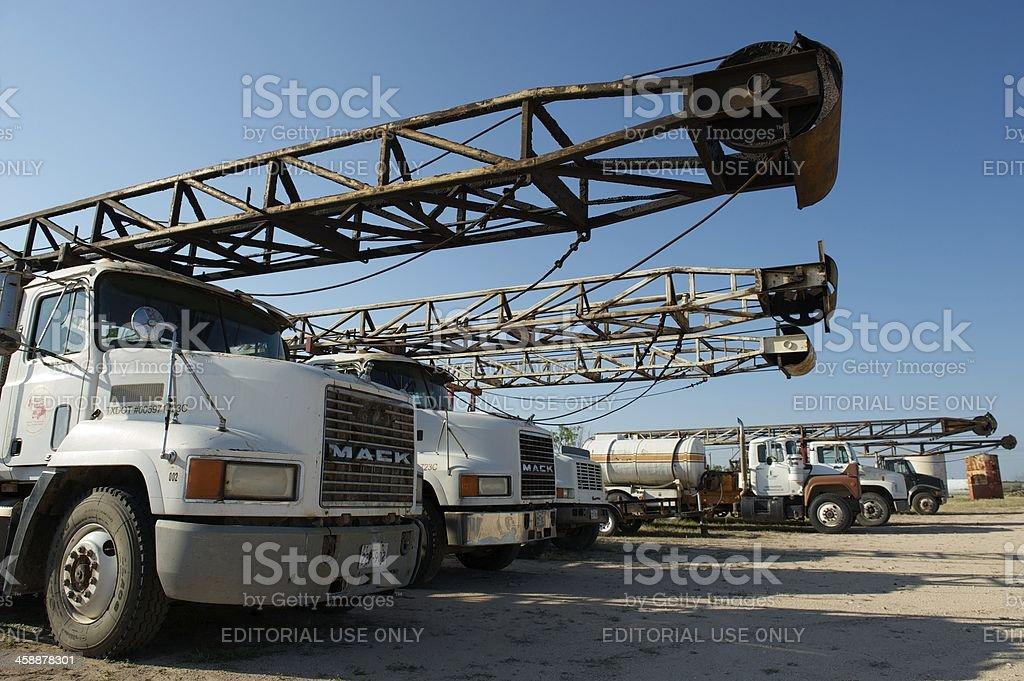 Drilling rig trucks, near San Angelo, TX, US royalty-free stock photo
