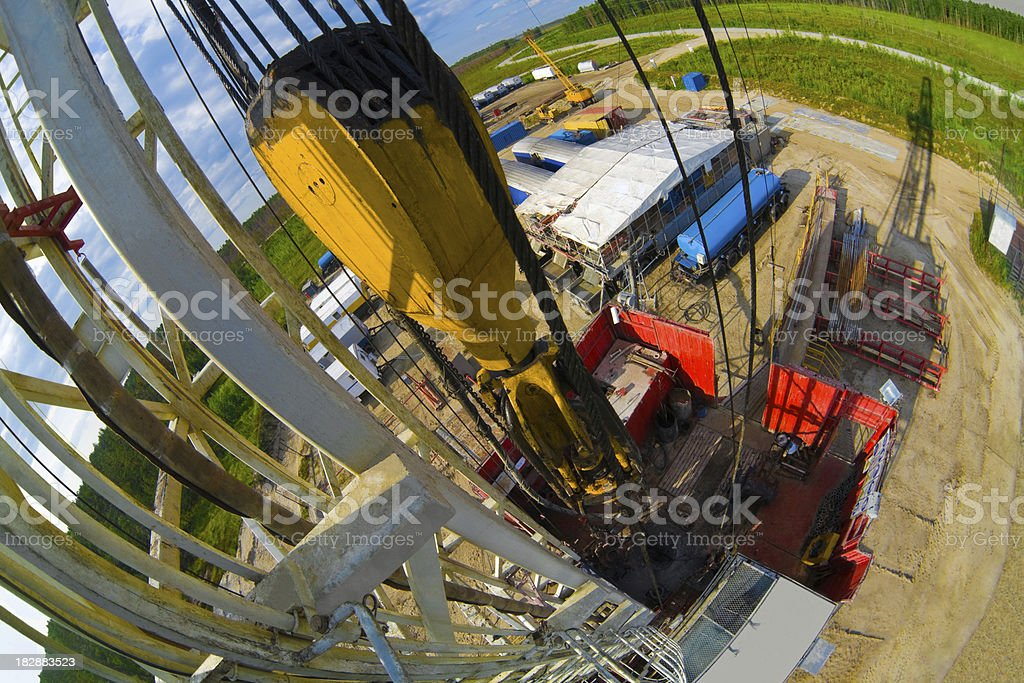 Drilling rig with shadow top view royalty-free stock photo