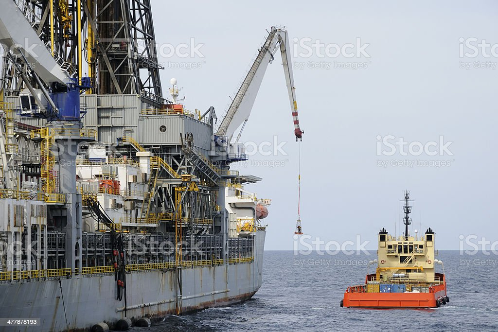 Drilling Ship  Basket Transfer royalty-free stock photo