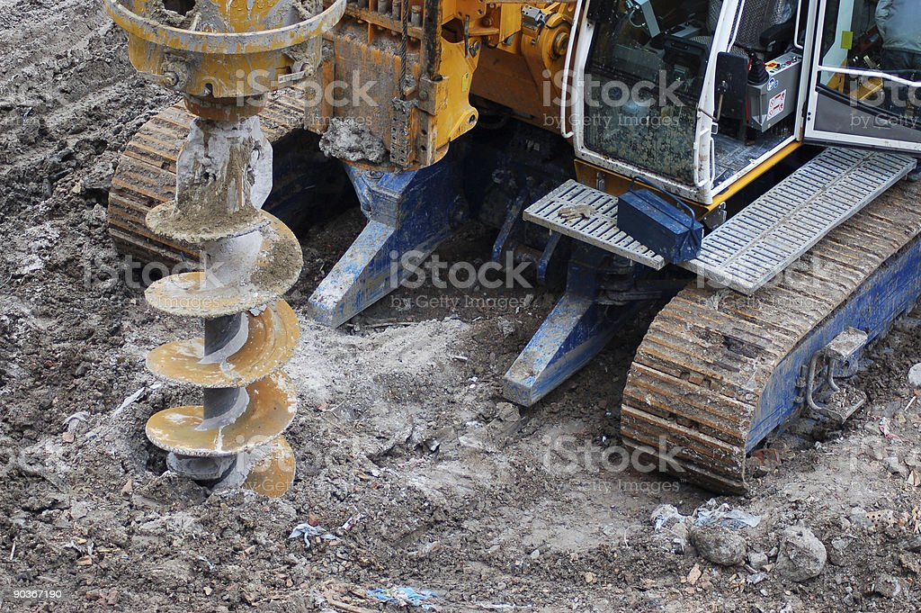 Drilling tractor stock photo