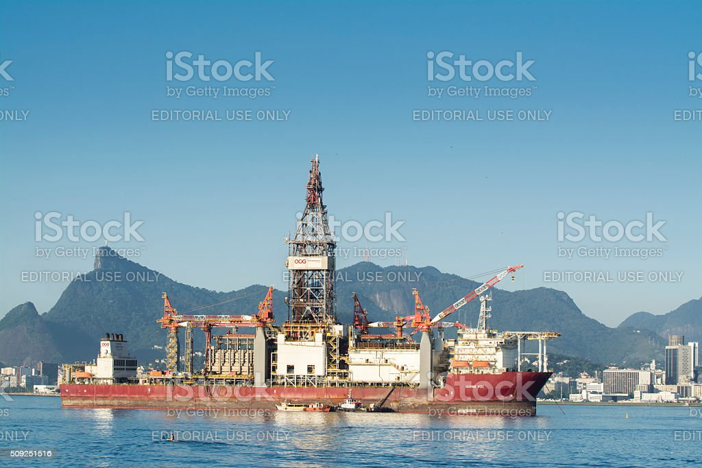 OOG Drillship at Guanabara Bay stock photo