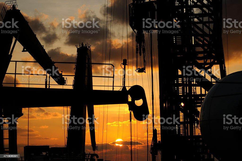 Drillship rigging silhouette stock photo