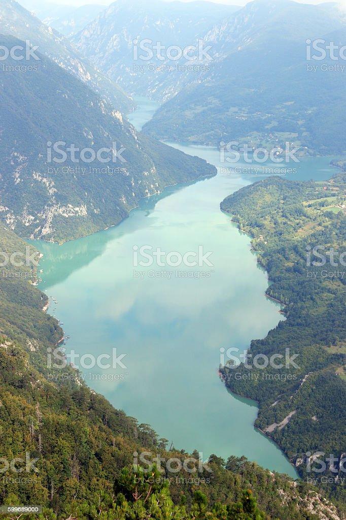 Drina river Tara mountain landscape stock photo