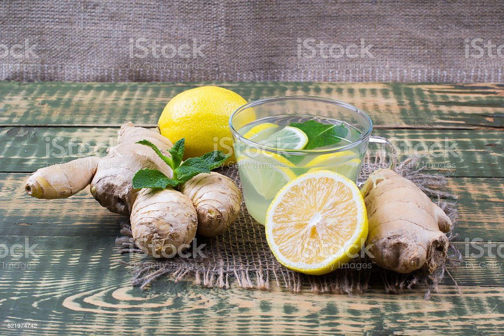 Drink about ginger and lemon juice stock photo