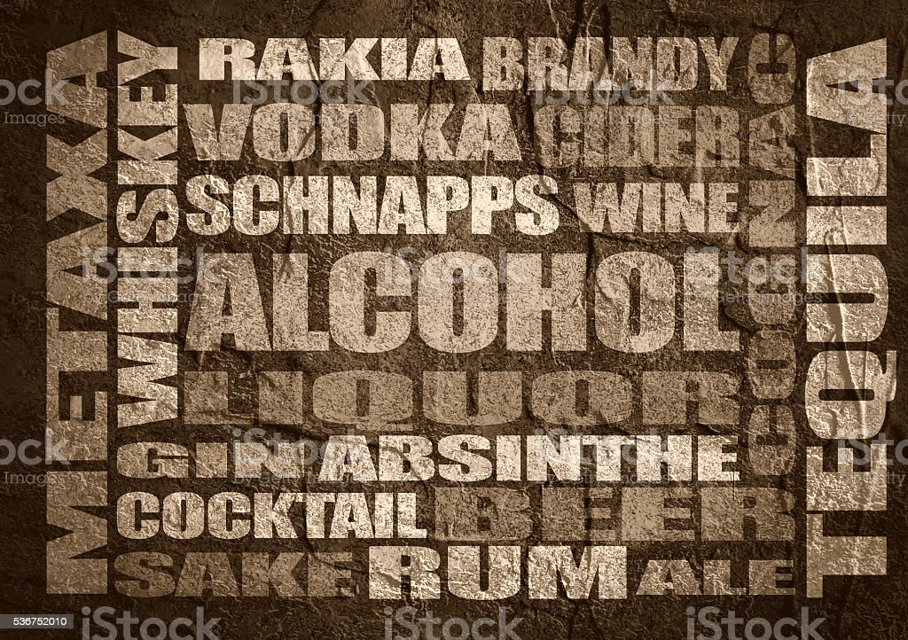 Drink alcohol beverage. Relative words cloud stock photo