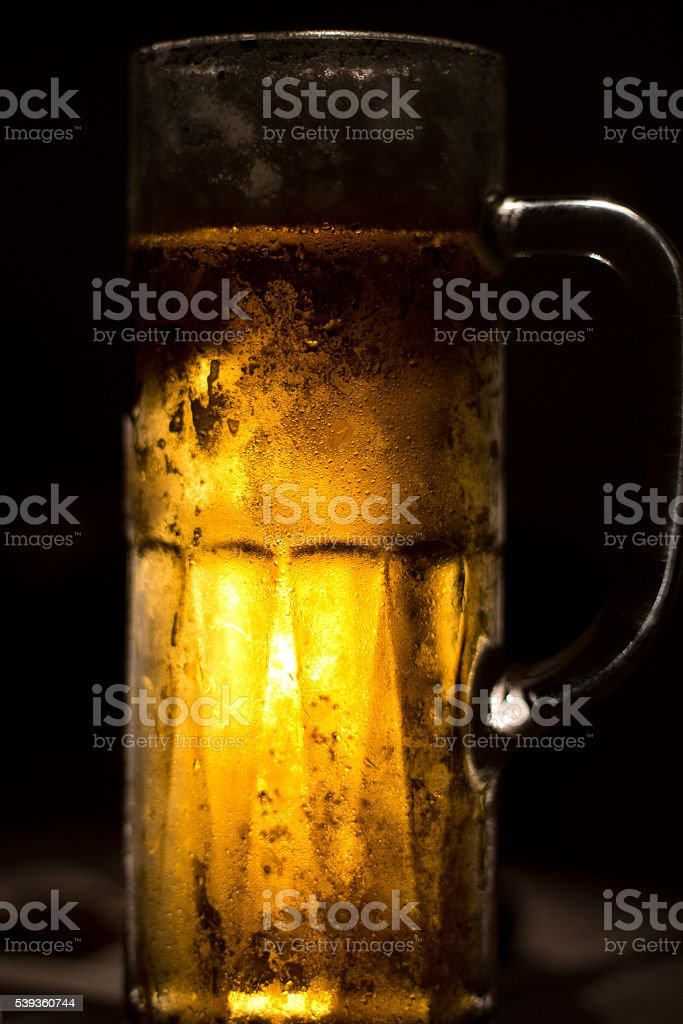 Drink. Beer. Misted mug. Condensate stock photo