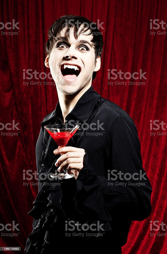 Drink blood, says the vampire stock photo