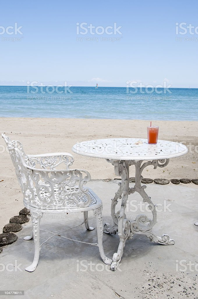 Drink by  the beach stock photo