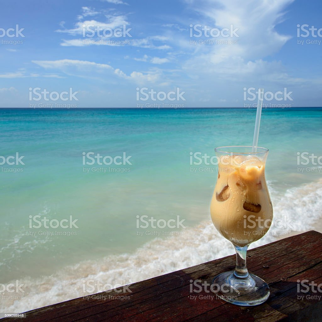 Drink by the Caribbean Sea royalty-free stock photo