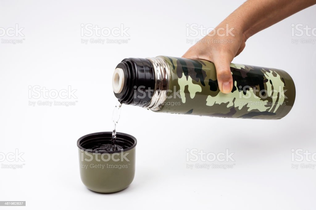 Drink canteen Container in Hand stock photo