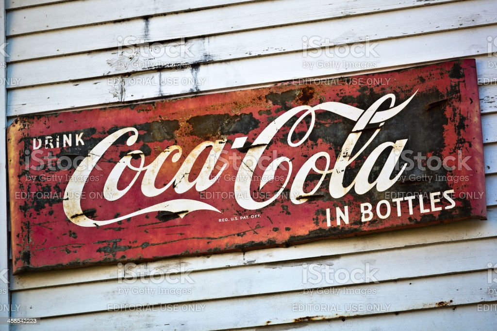 Drink Coca Cola in Bottles Old Advertising royalty-free stock photo