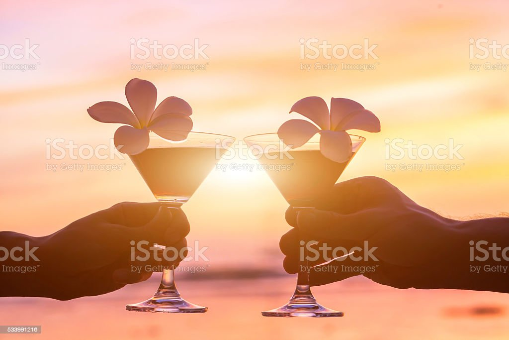 drink cocktails on the beach stock photo