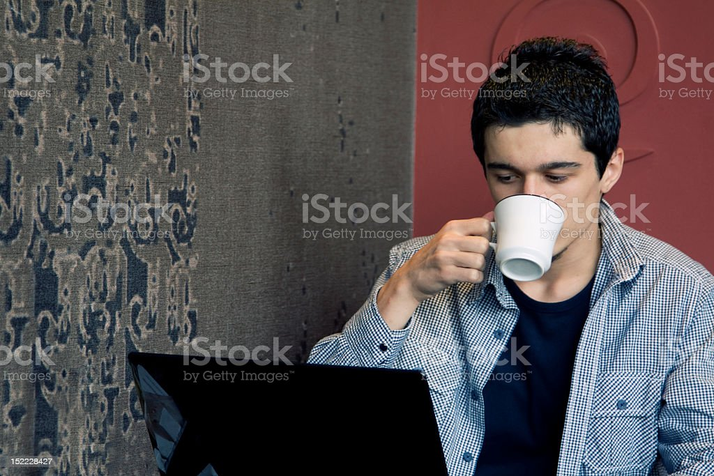 Drink coffee and surfing on the internet royalty-free stock photo