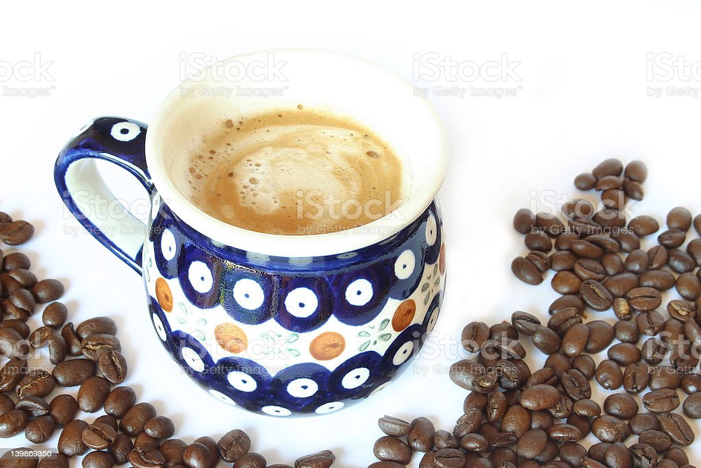 Drink & Food - Coffee Cup with Beans royalty-free stock photo