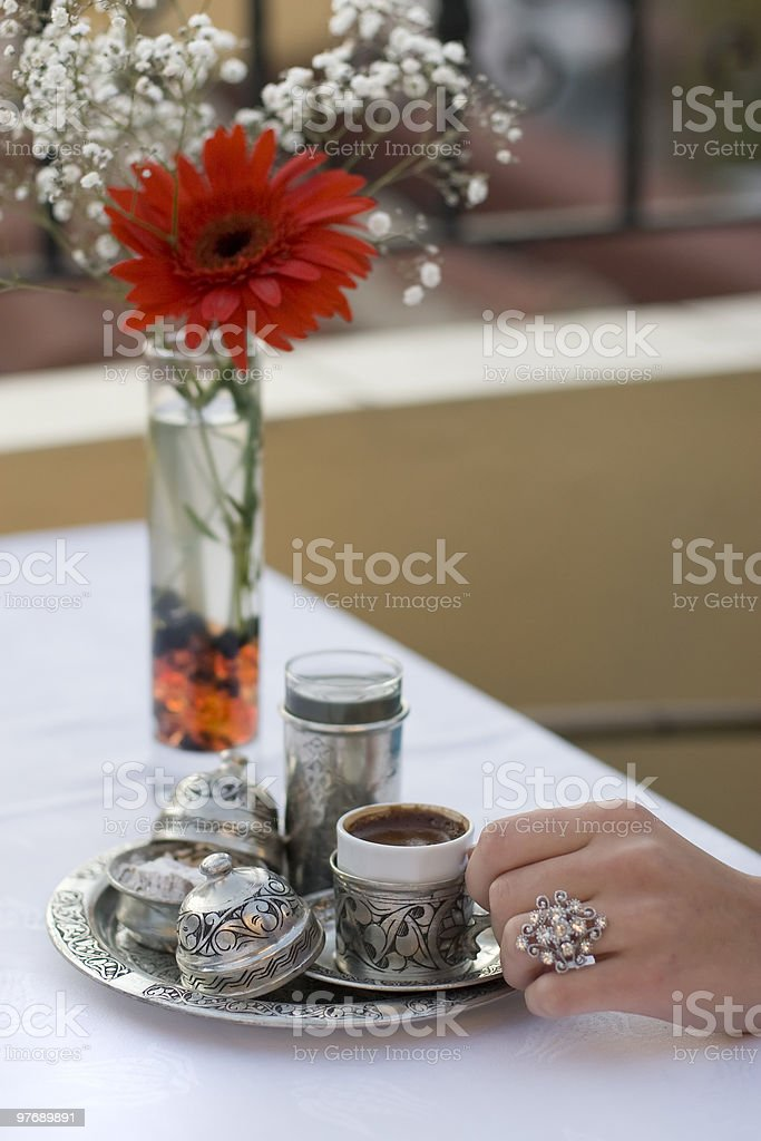drink from antique coffee set stock photo