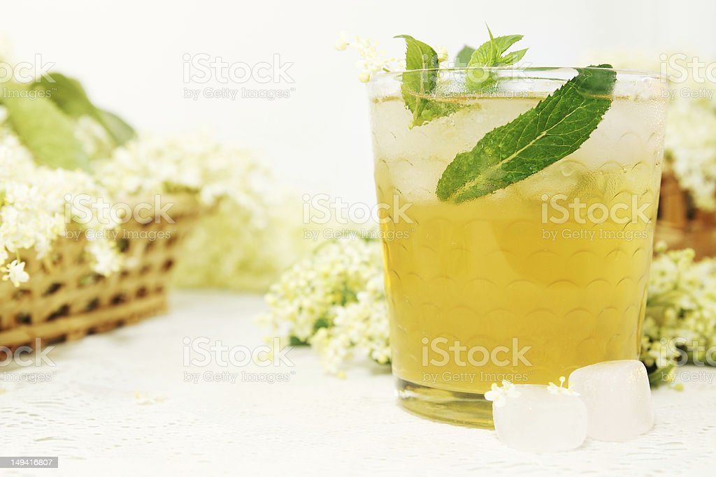 drink from elder with mint royalty-free stock photo