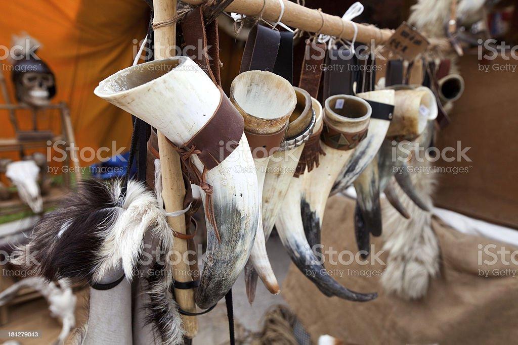 drink horns stock photo
