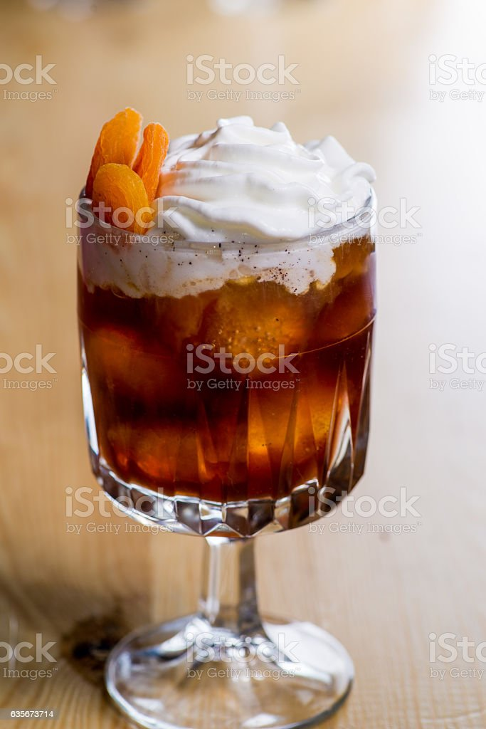 drink in a beautiful glass on the bar stock photo