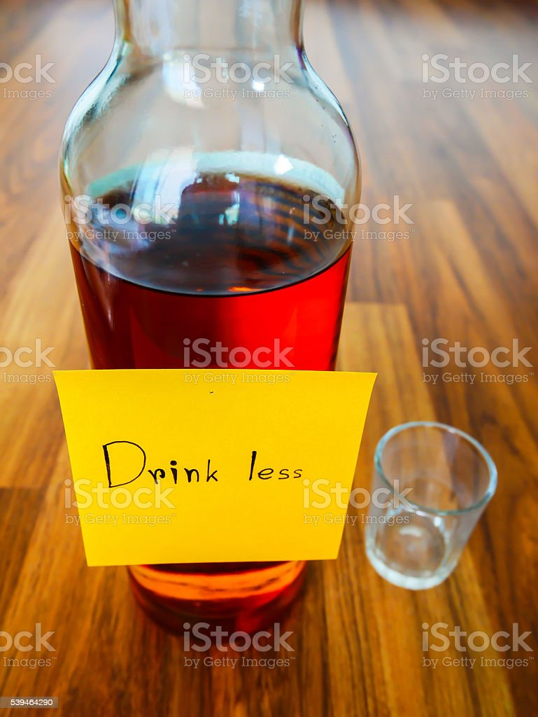 Drink less post note stock photo