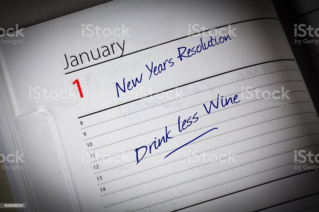 Drink Less Wine Diary Resolution stock photo