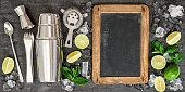 Drink making tools ingredients cocktail Blackboard recipe text