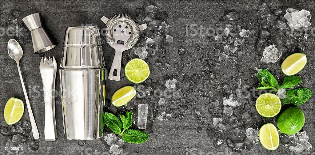 Drink making tools ingredients Cocktail Mojito Caipirinha stock photo