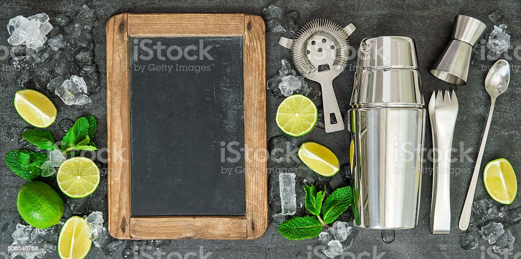 Drink making tools ingredients Lime mint chalkboard stock photo