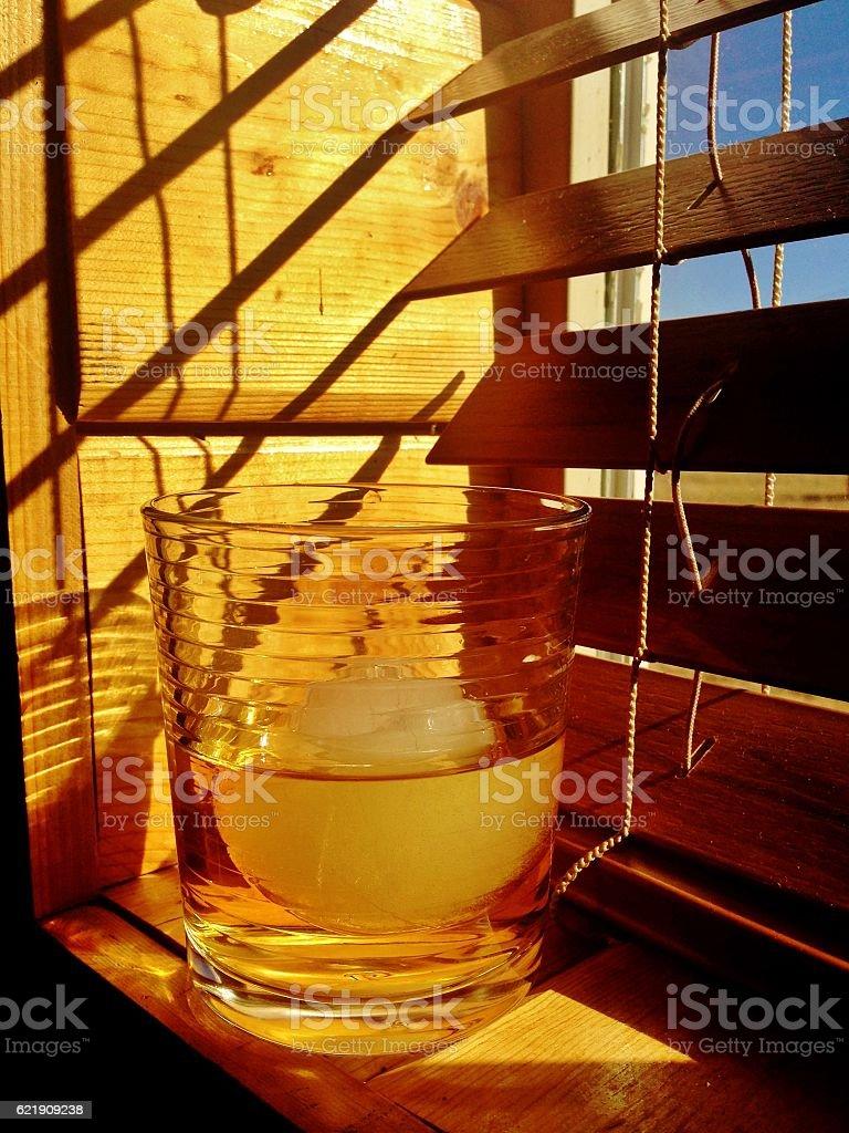 Drink on Windowsill stock photo