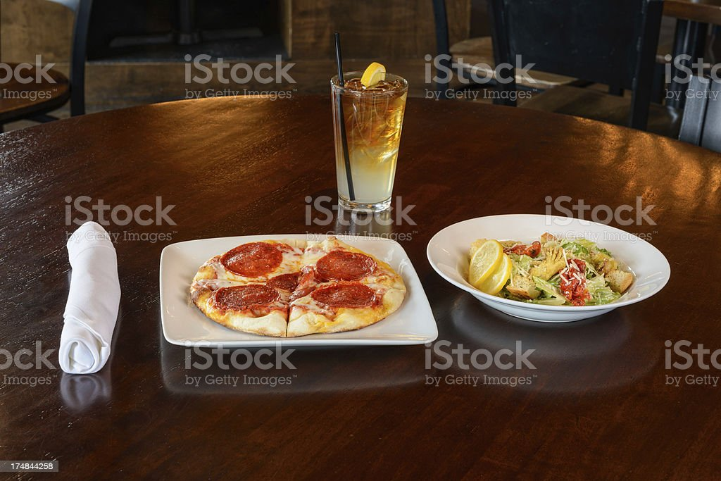 Drink Pizza and Salad royalty-free stock photo