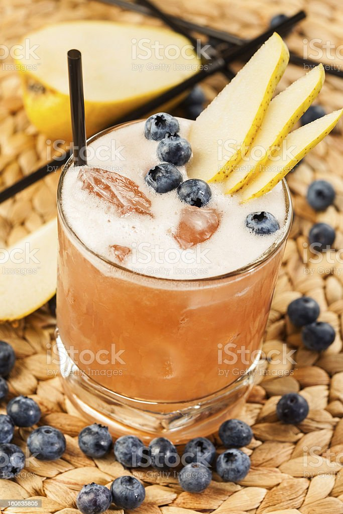 Drink with blueberry and pear royalty-free stock photo