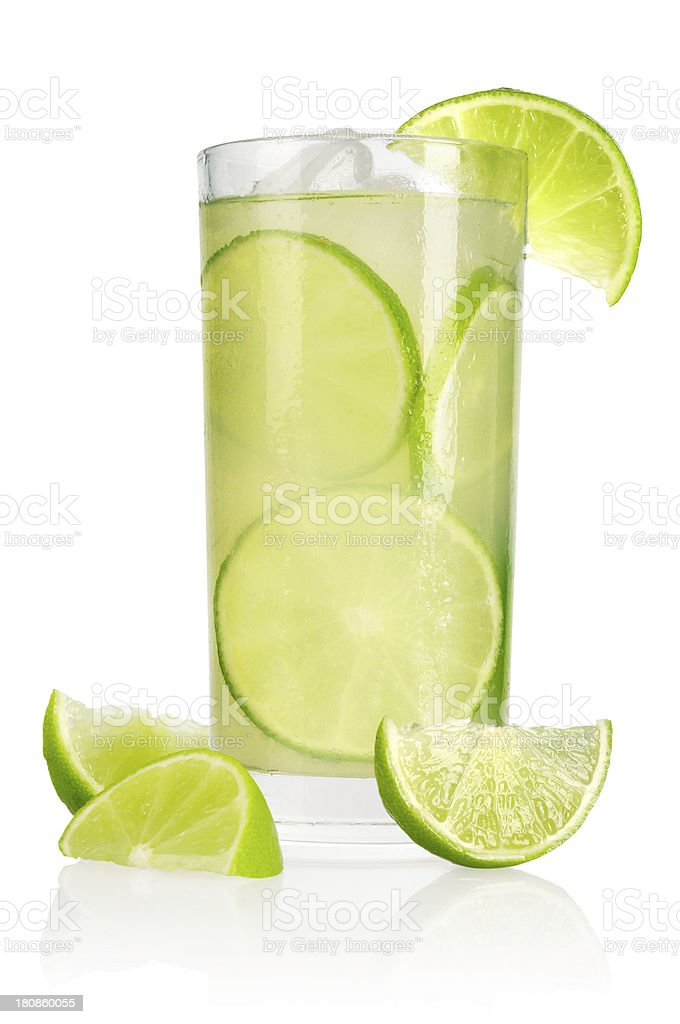Drink with lime and ice royalty-free stock photo