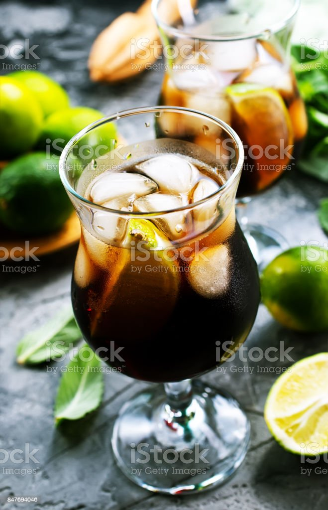 drink with limes stock photo