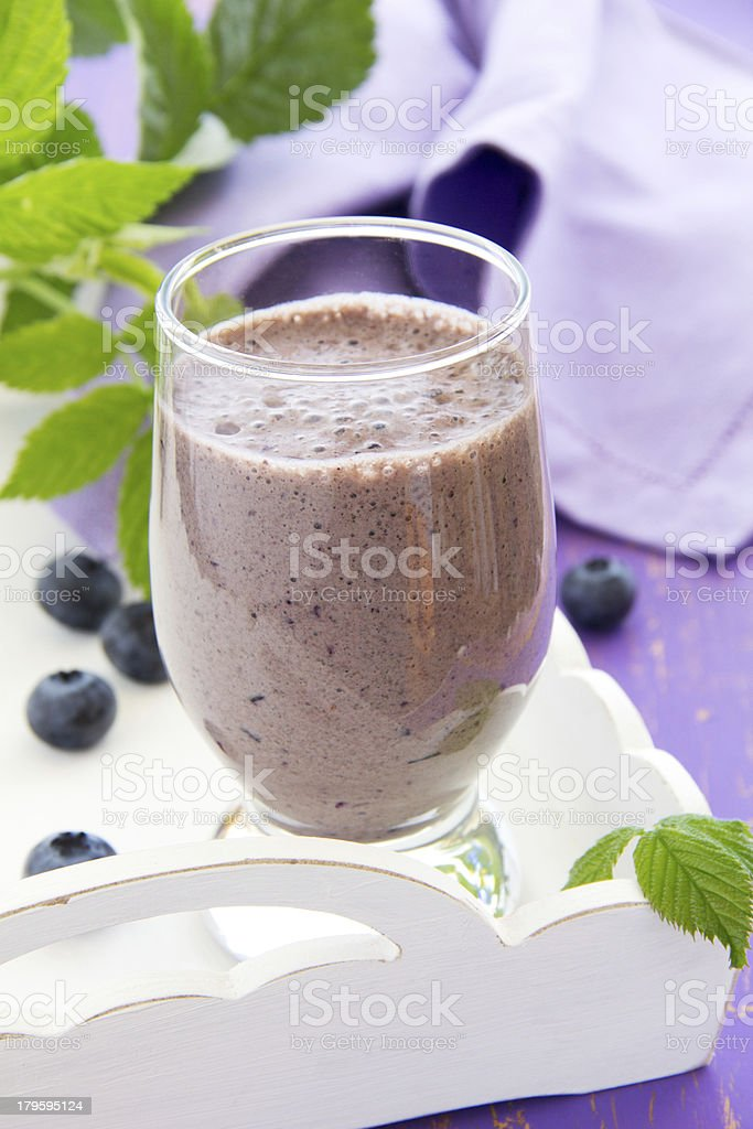 Drink-blueberry smoothie. selective focus. royalty-free stock photo