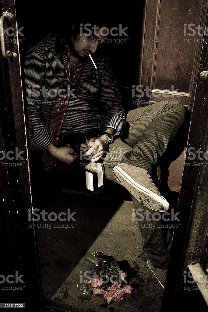 Drinker in old elevator - series stock photo