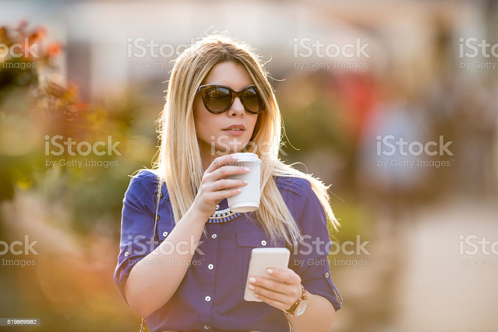 Drinking a coffee stock photo