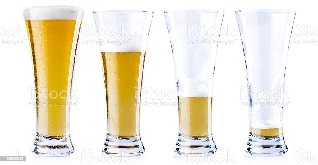 Drinking a cold beer stock photo