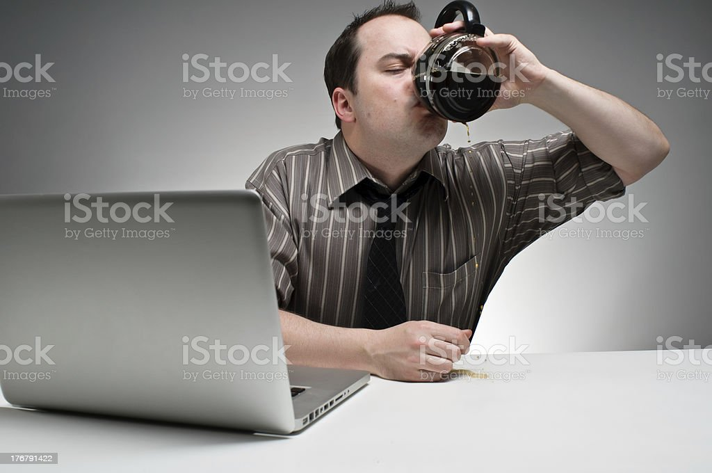 Drinking A Pot White Working royalty-free stock photo