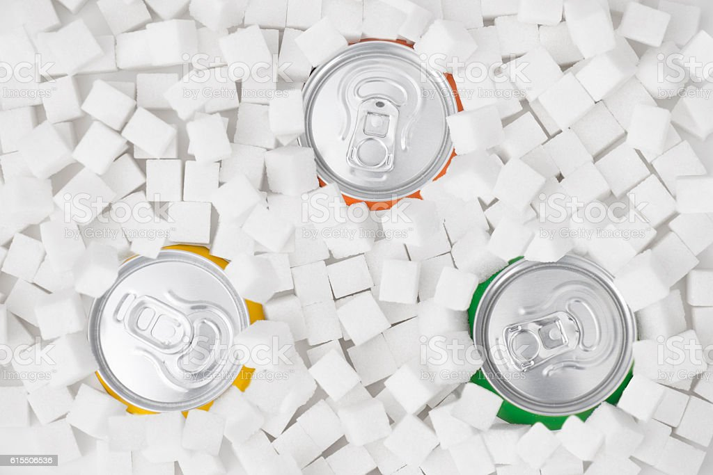 Drinking Cans in Sugar Cubes stock photo
