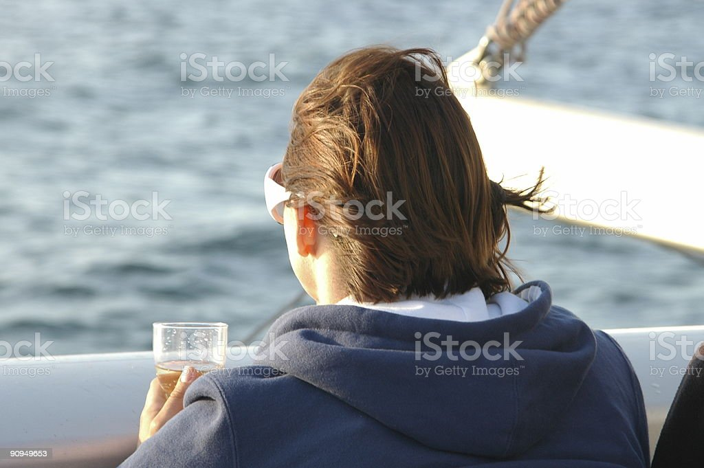 Drinking champagne on a cruise royalty-free stock photo
