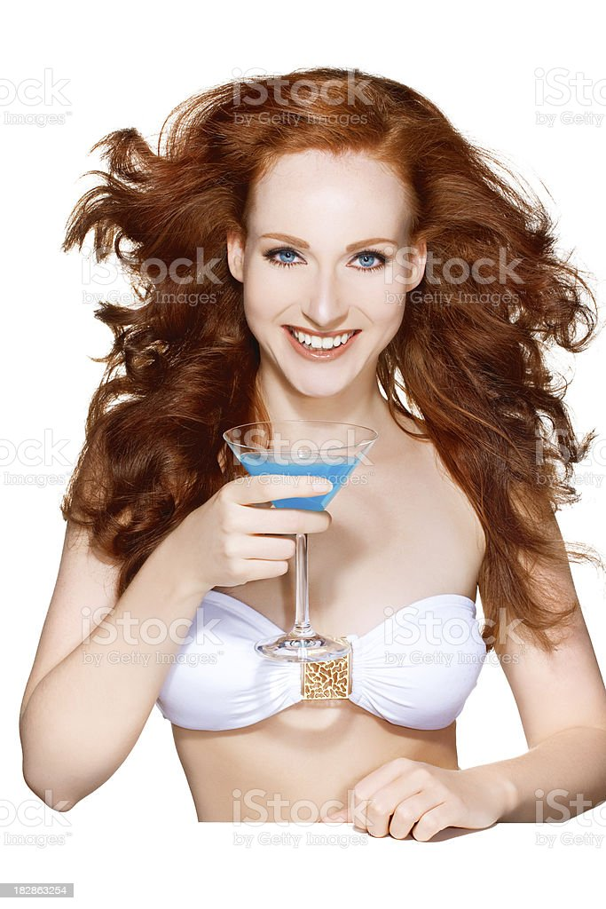 drinking cocktail woman royalty-free stock photo